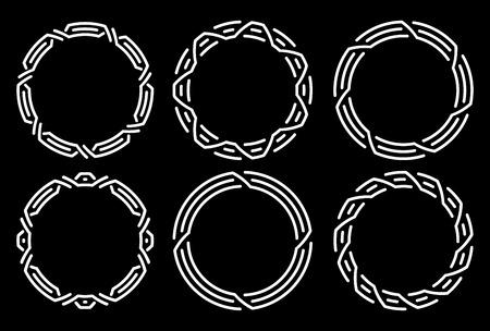 érdekes: Set of six interesting round frames white on black Illusztráció