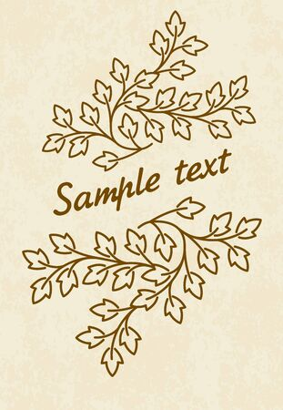 mono: floral decor with leaves and copyspace in mono line style