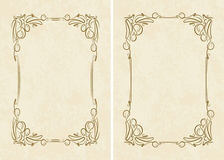 textured paper: Pair of vintage frames on old textured paper