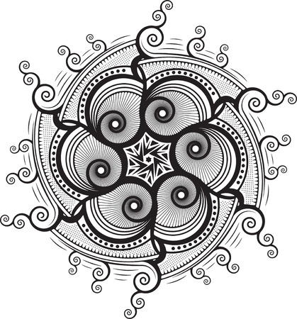 sacramental: Round unusual asymmetrical decorative element - lace mandala . Stylized vector flower for design or tattoo.