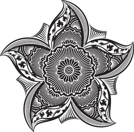 sacramental: Round asymmetrical decorative element - lace mandala . Stylized vector flower for design or tattoo. Illustration