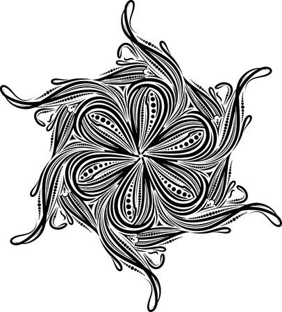 asymmetrical: Round asymmetrical decorative element - lace mandala. Stylized vector flower for design or tattoo.