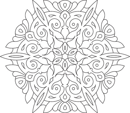 sacramental: Round asymmetrical decorative element - lace mandala. Stylized vector flower for design or tattoo.