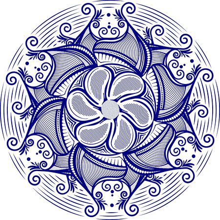 sacramental: Round asymmetrical decorative element - lace mandala . Stylized vector flower, sun symbol for design or tattoo.