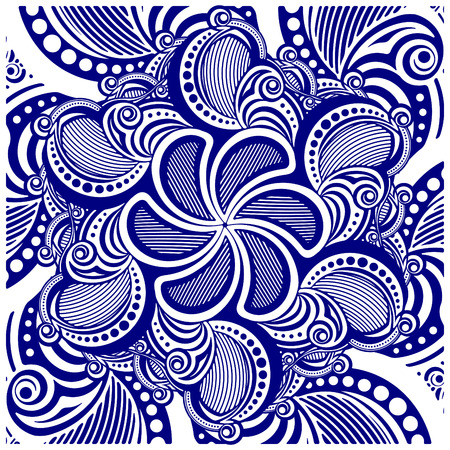 asymmetrical: Square asymmetrical decorative element - lace mandala in zentangle style. Stylized vector illustration for design or tattoo.