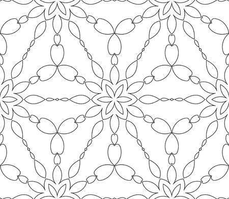 vitrage: Rich decorated calligraphic outlined stroke monochrome seamless pattern. Vector ornate floral design. Illustration