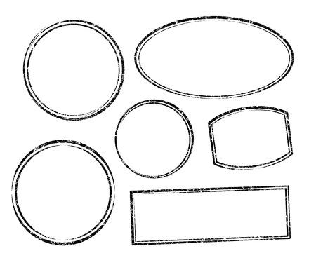 óvalo: Conjunto de plantillas vectoriales de seis grunge para los sellos de goma Vectores