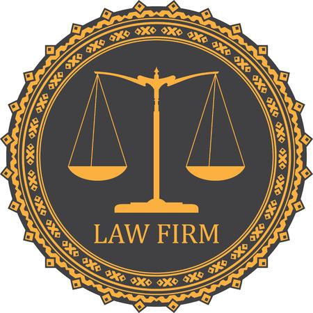 justiz: Gerechtigkeit Maßstab Symbol mit Beschriftung KANZLEI Illustration