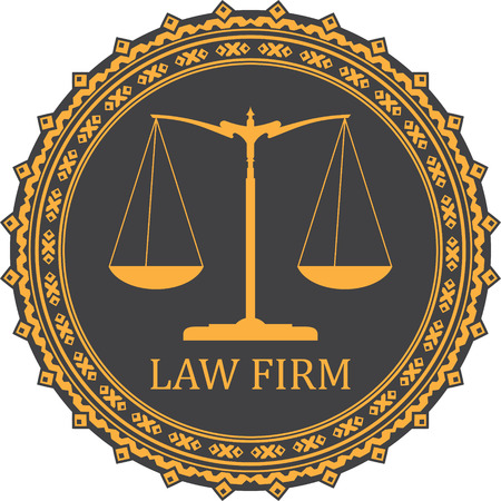 scale of justice: Justice scale icon with caption LAW FIRM