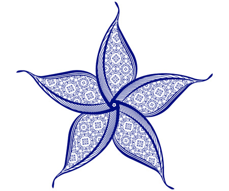 asymmetrical: Round asymmetrical decorative element - lace mandala . Stylized vector flower for design or tattoo. Illustration