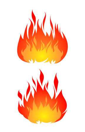 Set of two fires vector isolated on white background.