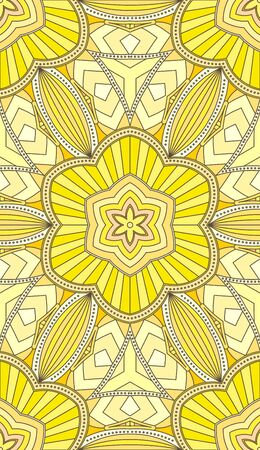 vitrage: Seamless abstract tribal pattern. Hand drawn ethnic texture, vector illustration in bright, yellow tones. Illustration
