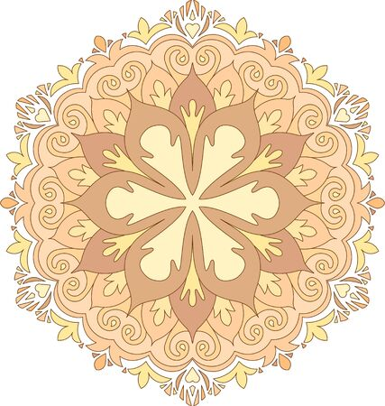 napkin: Abstract vector colorful round lace design in mono line style - mandala, decorative element in bright, pastel tones.