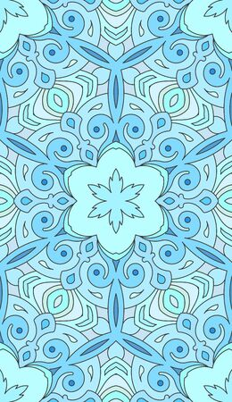vitrage: Seamless abstract tribal pattern. Hand drawn ethnic texture, vector illustration in blue tones. Illustration