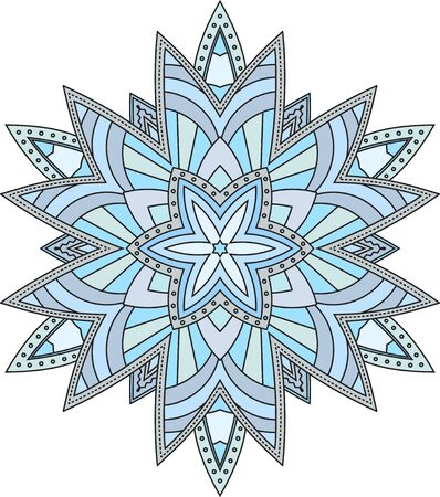 mendi: Abstract vector colorful round lace design in mono line style - mandala, decorative element in blue tones.