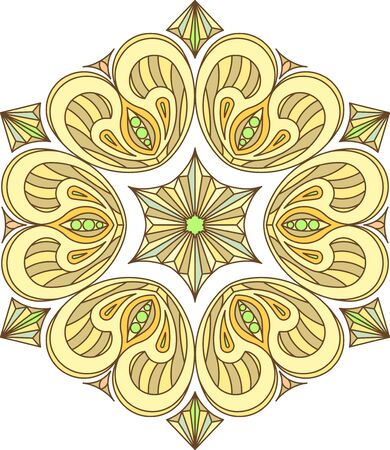 Abstract vector colorful round lace design in mono line style - mandala, decorative element in bright colors Illustration