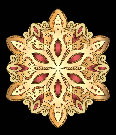 mendi: Abstract vector colorful round lace design in mono line style - mandala, decorative element on black background.