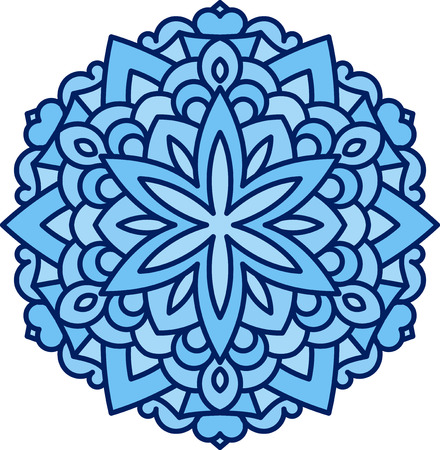 mendi: Abstract vector colorful round lace design in mono line style - mandala, decorative element in blue monochrome gamma.