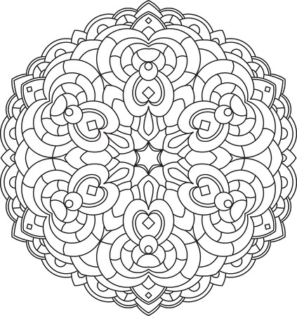 decorative element: Abstract vector black round lace design in mono line style - mandala, ethnic decorative element.