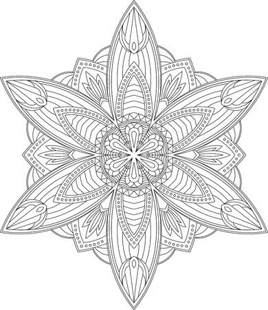 decorative line: Abstract vector black round lace design in mono line style - mandala, ethnic decorative element.