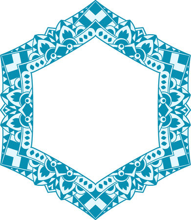 Unusual, hexagonal, lace frame, decorative element with empty place for your text. Vector illustration in blue tones. Illustration