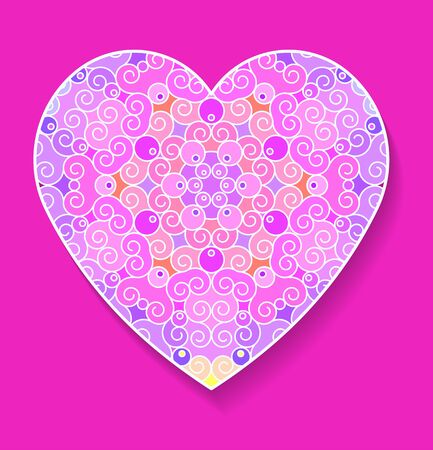 postcard background: Colorful heart with pattern and shadow on a pink background. Postcard greetings for the holiday, Valentines Day. Vector illustration.