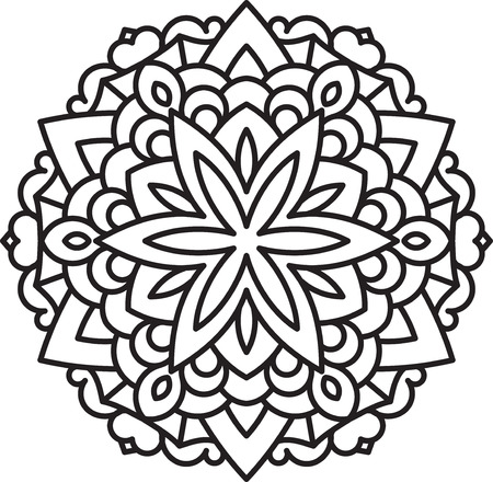 flower ornament: Abstract vector black round lace design in mono line style - mandala, ethnic decorative element.