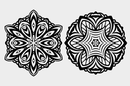 mandala: Set of 2 abstract, vector black round lace design in mono line style - mandalas, ethnic decorative elements.