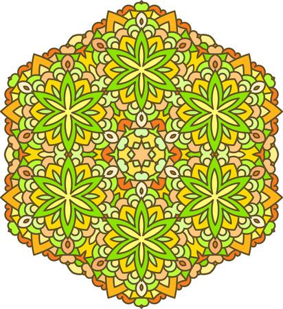 mendi: Abstract vector colorful round lace design in mono line style - mandala, decorative element in bright, yellow, green, orange, tones.