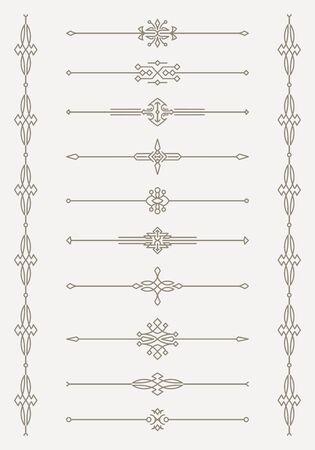 decorative line: Set of 10 decorative vector mono line style text dividers with pair of bonus decorative elements.