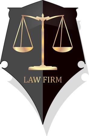 delincuencia: Icono Escala de la justicia con LAW FIRM subtítulo en el estilo grunge de oro en un escudo negro con la sombra