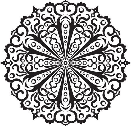 mendi: Abstract vector black round, hexagonal lace design in mono line style - mandala, ethnic decorative element. Illustration