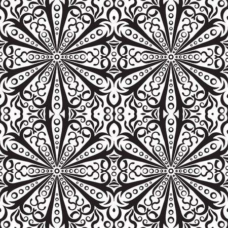 vitrage: Rich decorated monochrome seamless pattern. Vector ornate floral design.