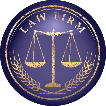 delincuencia: Icono Escala de la justicia con LAW FIRM subt�tulo en el estilo grunge de oro sobre un fondo azul brillo satinado Vectores
