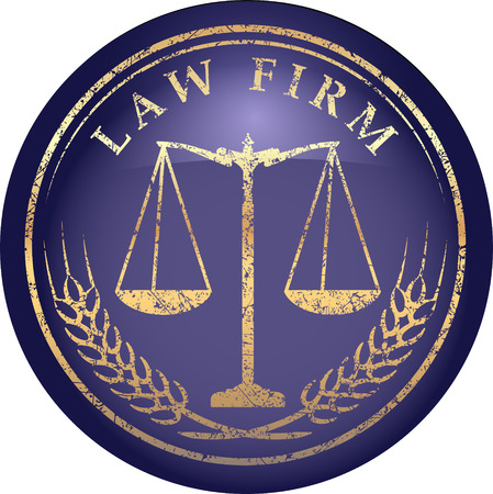 prosecute: Justice scale icon with caption LAW FIRM in gold grunge style on a glossy shine blue background Illustration