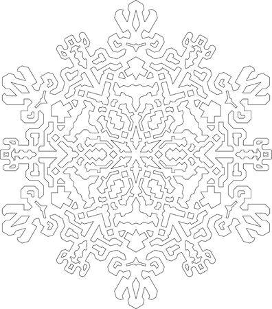 Contornos De Copo De Nieve En El Estilo De Línea Mono Para Colorear ...