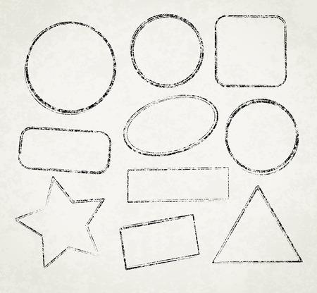 Ensemble de dix modèles grunge de vecteur pour les timbres en caoutchouc sur fond vieux papier