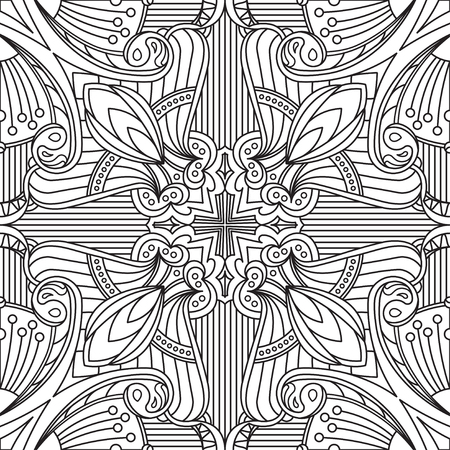 anti: Seamless Abstract Tribal Black-White Pattern In Mono Line Style. Hand Drawn Ethnic Texture. Can be used as anti stress therapy for coloring or coloring-book.