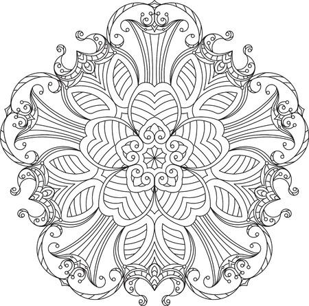 decorative line: Abstract vector black round lace design in mono line style - five-finger mandala, ethnic decorative element.