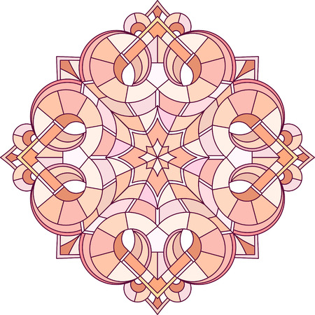 gamma: Abstract vector colorful round lace design in mono line style - mandala, decorative element in red monochrome gamma. Vectores