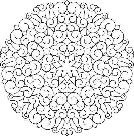 Résumé vecteur de noir design rond de dentelle dans le style de ligne mono - mandala, élément décoratif ethnique.