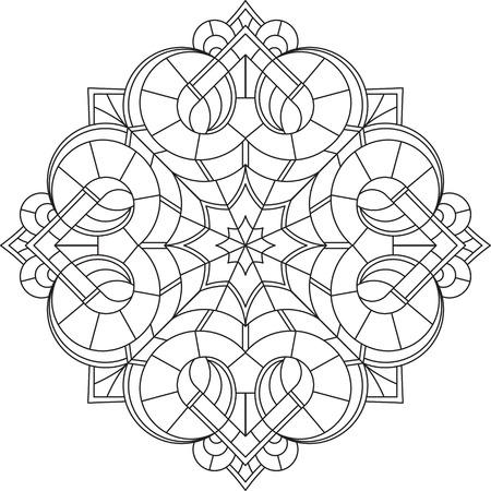 mehendi: Abstract vector black round lace design in mono line style - mandala, ethnic decorative element.