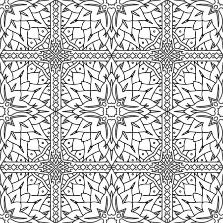 Seamless Abstract Tribal Black-White Pattern In Mono Line Style. Hand Drawn Ethnic Texture. Can be used as anti stress therapy for coloring or coloring-book.