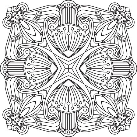 mendi: Abstract vector black square lace design in mono line style - mandala, ethnic decorative element. Can be used as anti stress therapy.