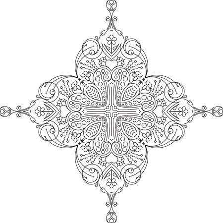 flower ornament: Unusual vector cruciform square lace design in mono line style - mandala, ethnic decorative element. Can be used as anti stress therapy. Illustration