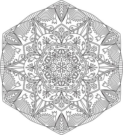 decorative element: Abstract vector black round lace design in mono line style - mandala, ethnic decorative element with birds and fishes. Can be used as anti stress therapy.