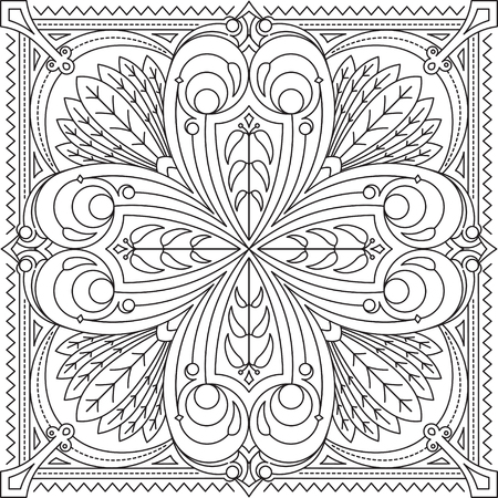 serviette: Abstract vector black square lace design in mono line style - mandala, ethnic decorative element. Can be used as anti stress therapy.