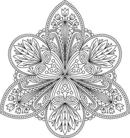 Unusual abstract vector black lace design in mono line style - triangular mandala, ethnic decorative element.