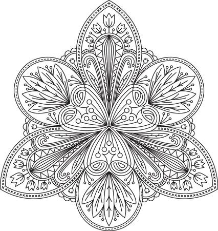 encaje: Vector abstracto del dise�o inusual de encaje negro en el estilo de l�nea mono - mandala triangular, elemento decorativo �tnico.