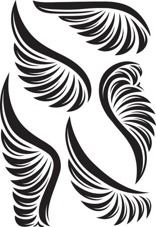 engel tattoo: Satz von fünf Vektor-Flügel